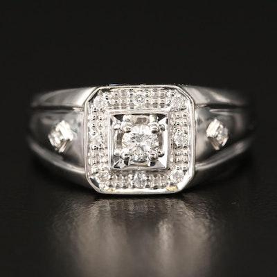 18K Diamond Halo Ring