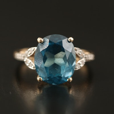 9K Topaz and White Zircon Ring with Foliate Accents