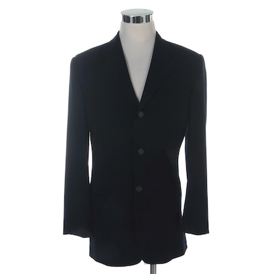 Men's DKNY Black Wool Three-Button Blazer with Notched Lapel