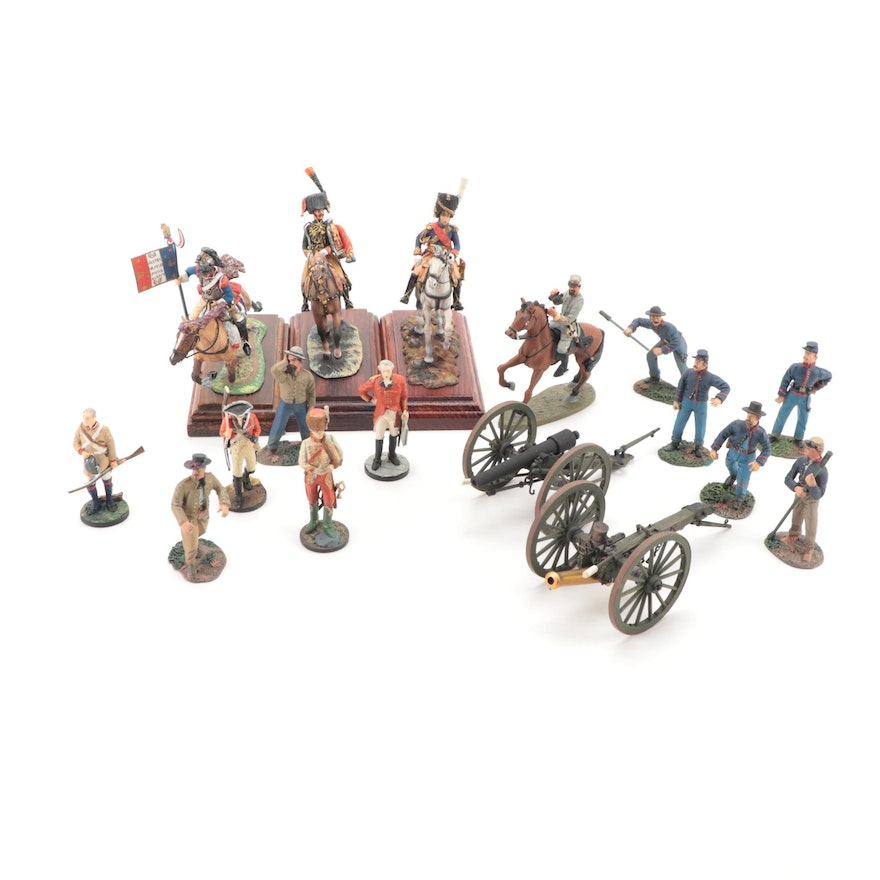 Yorktown Bicentennial and Other Painted Metal Figurines, Late 20th Century