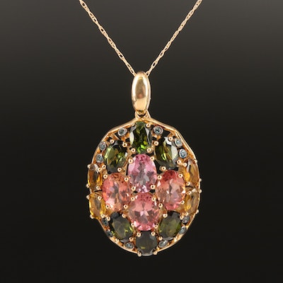 Sterling Tourmaline and Diamond Pendant on 10K Chain Necklace