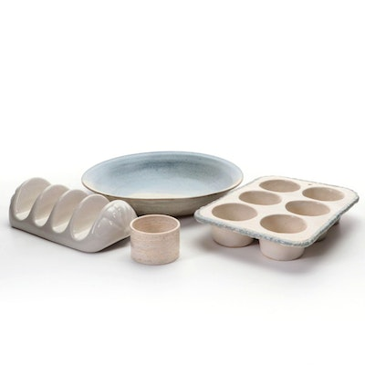 Handcrafted Stoneware Bowl and Cupcake Pan with Other Bowl and Tacos Holder
