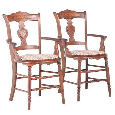 Pair of Victorian Walnut and Burl Walnut Armchairs, Late 19th Century