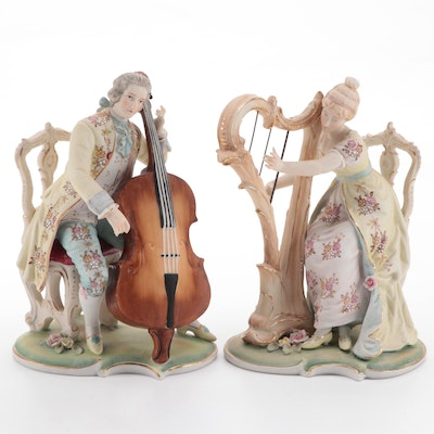 Rococo Style Ceramic Musicians Figurines, Mid to Late 20th Century