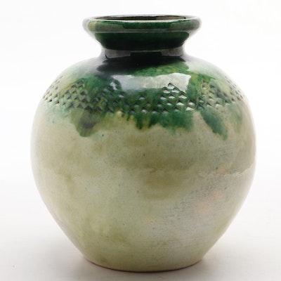Signed Glazed Earthenware Vase
