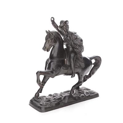 Cast Metal Buffalo Bill Cody on Horseback Figurine, Late 19th/ Early 20th C.