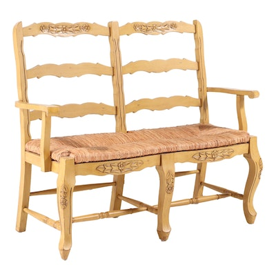 French Provincial Style Buff-Painted Double-Chairback Settee