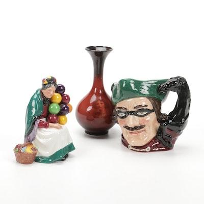 "Warwick Ioga Ware Portrait Vase, Royal Doulton ""Dick Turpin"" Jug and Figurine"