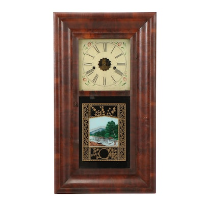 E.N. Welch Reverse Painted Glass Walnut Ogee Clock, Mid to Late 19th Century