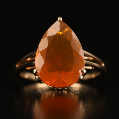 9K Pear Faceted Fire Opal Solitaire Ring