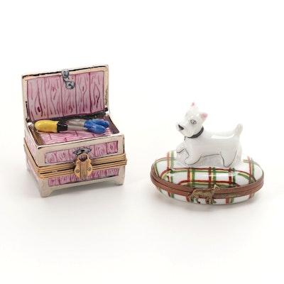 La Gloriette and Eximious Hand-Painted Porcelain Limoges Boxes