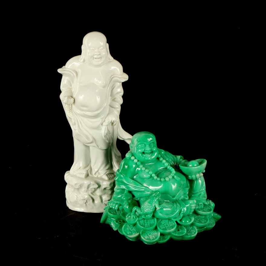 Ceramic and Cast Resin Buddha Figurines