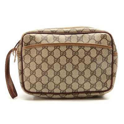 Gucci Accessory Pouch Wristlet in GG Supreme Canvas with Leather Trim