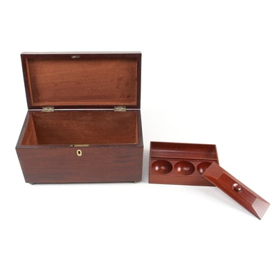 Mahogany Document Box with Insert and Bone Keyhole, 19th Century