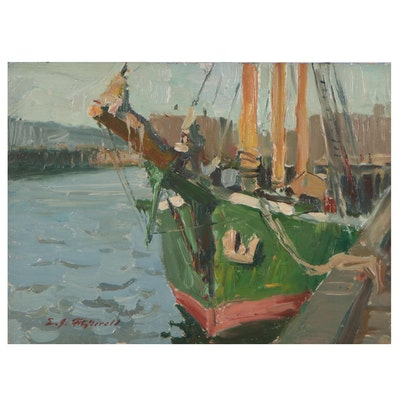 "Edmond Fitzgerald Harbor Scene Oil Painting ""Winton,"" 1984"