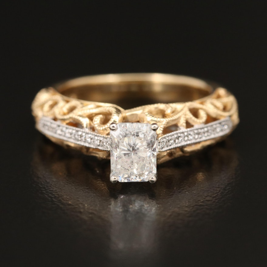 14K 1.24 CTW Diamond Ring with Scrollwork Gallery