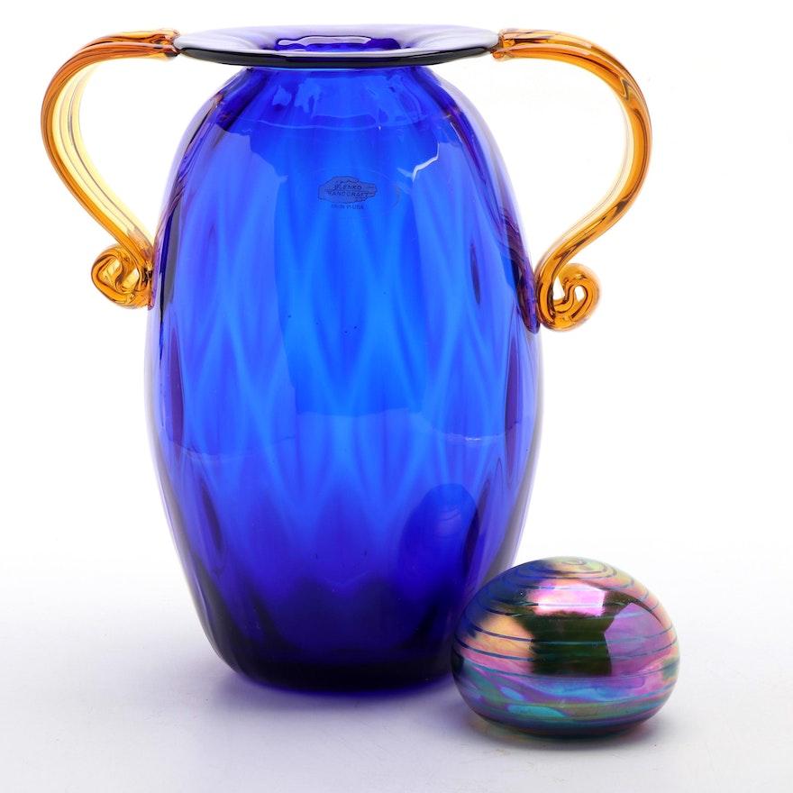 Blenko Double-Handled Art Glass Vase with Gary Levay Iridescent Paperweight