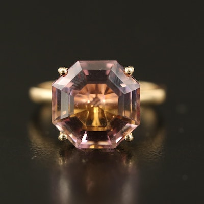 9K Octagonal Faceted Ametrine Solitaire Ring