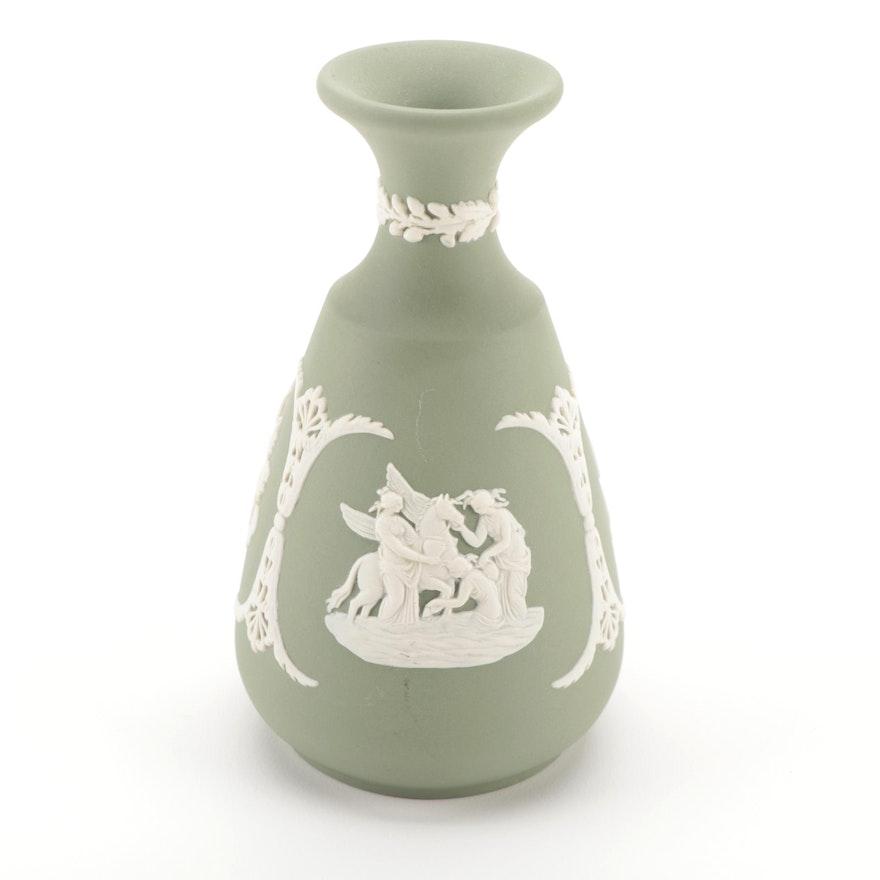 Wedgwood Cream on Celadon Jasperware Bud Vase