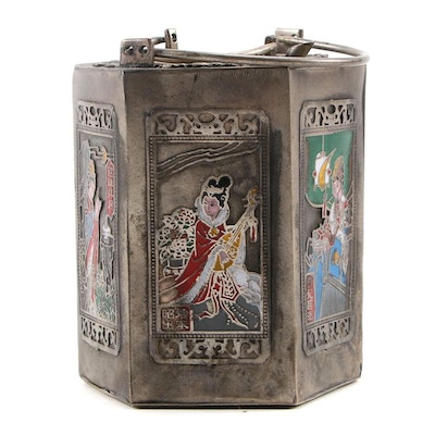 Chinese Pewter and Enamel Wine Warmer