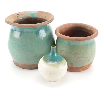 Signed Art Pottery Vase with Green Glaze Terracotta Planters