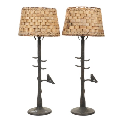 World Market Cast Metal Figural Bird and Tree Branch Form Table Lamps