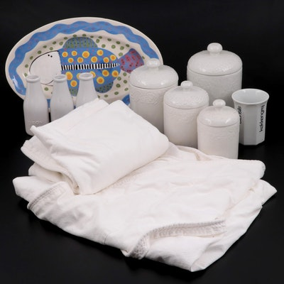 Gibson White Ceramic Canisters and Other Tableware and Ballard Design Tablecloth