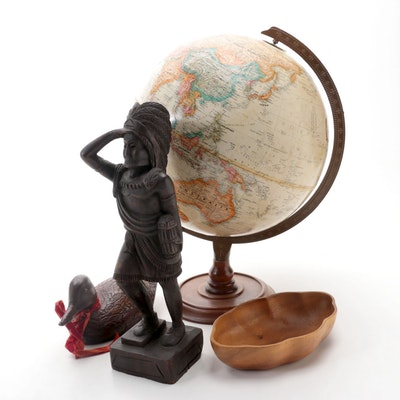 """Replogle 12"""" World Classic Series Globe with Carved Figurines and Teak Bowl"""