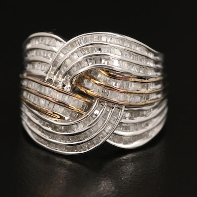 Sterling Silver Woven Diamond Ring