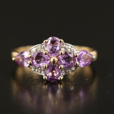 9K Sapphire and White Zircon Ring