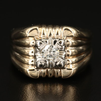 14K Diamond Ring with Fluted Shoulders