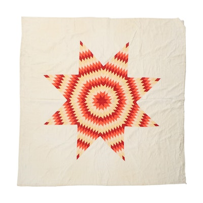 """Handmade """"Lone Star"""" Pieced Quilt, Early to Mid-20th Century"""