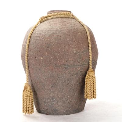 Wheel Thrown Earthenware Floor Vase with Tasseled Rope