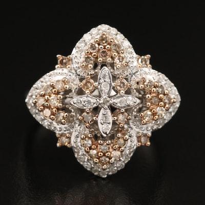 Sterling Silver Diamond Quatrefoil Ring