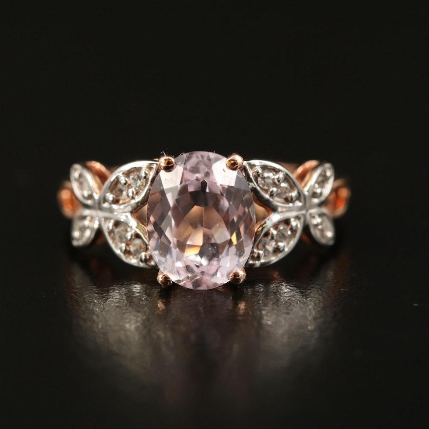 9K Rose Gold Kunzite and Sapphire Ring