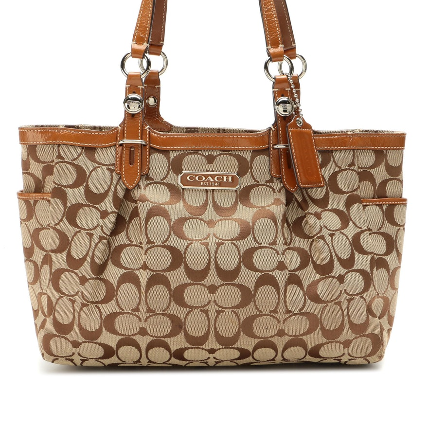Coach East/West Gallery Shoulder Bag in Signature Canvas and Brown Leather