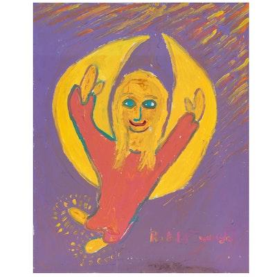 Robert Wright Folk Art Acrylic Painting of Angel, Late 20th Century