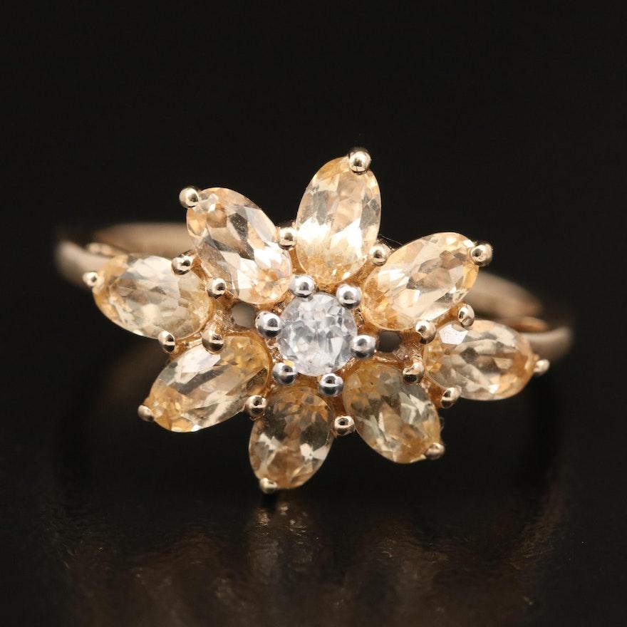 10K Citrine and Zircon Flower Ring
