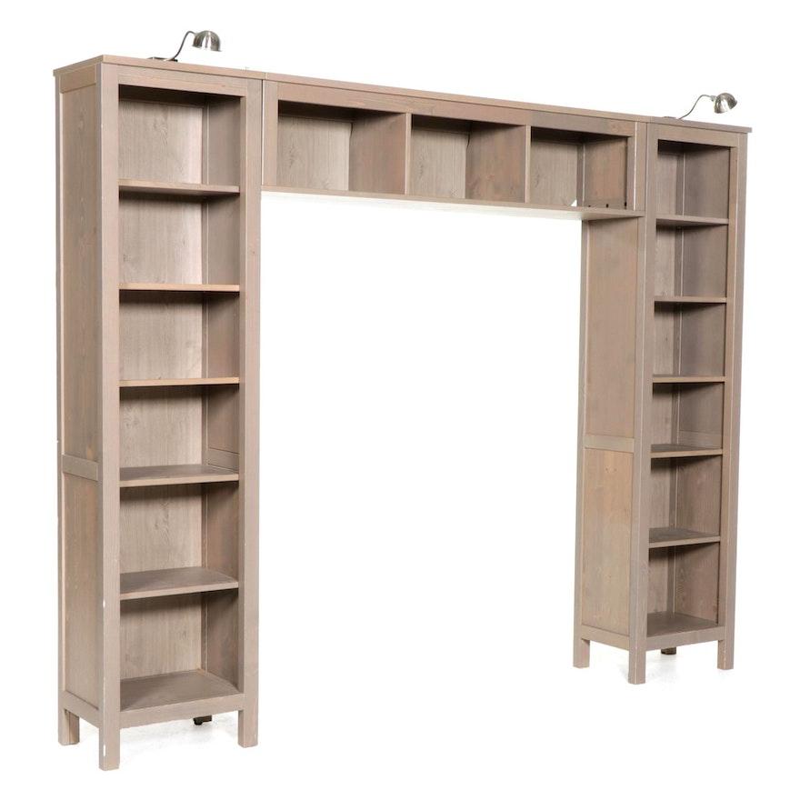 "IKEA Three-Piece ""Hemnes"" Spruce Bookshelf Unit"