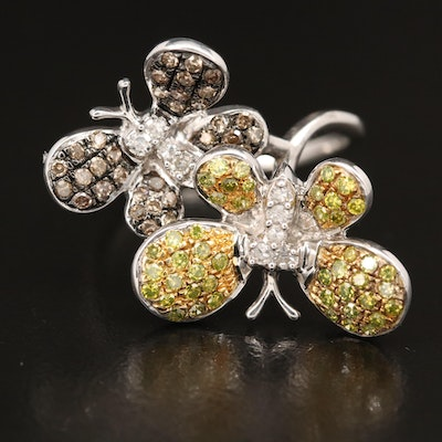 Sterling Silver Diamond Butterfly Duo Ring