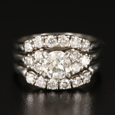 Platinum Diamond Ring with 1.04 CT Center and 1.92 CTW Side Stones