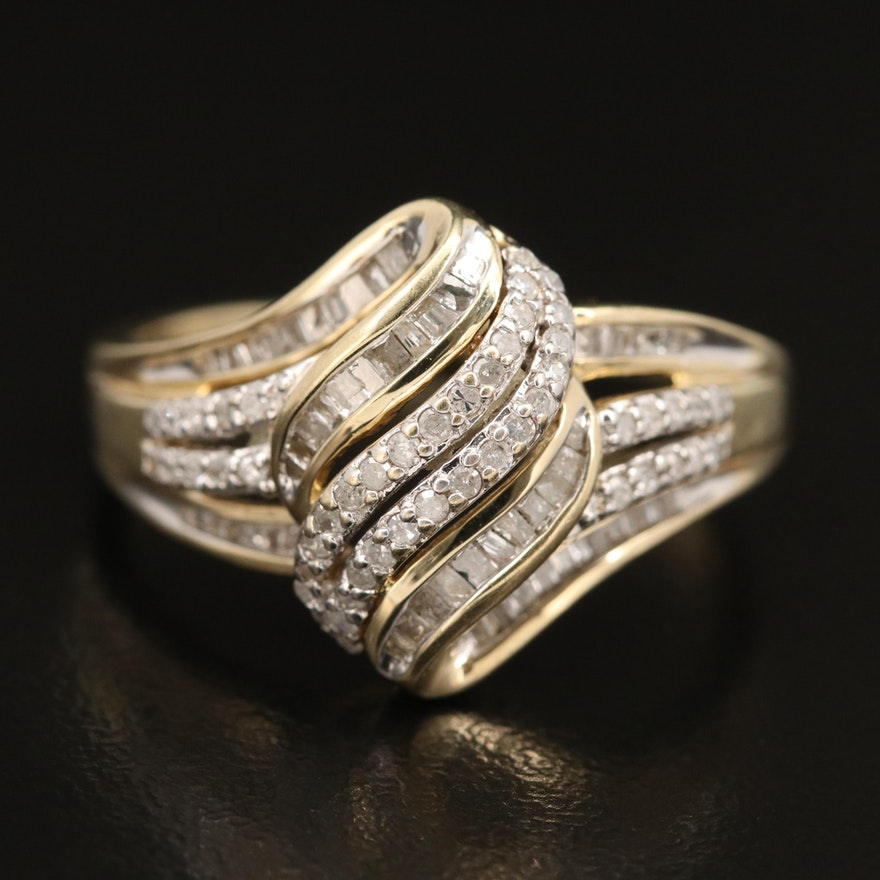 10K Diamond Ribbon Ring