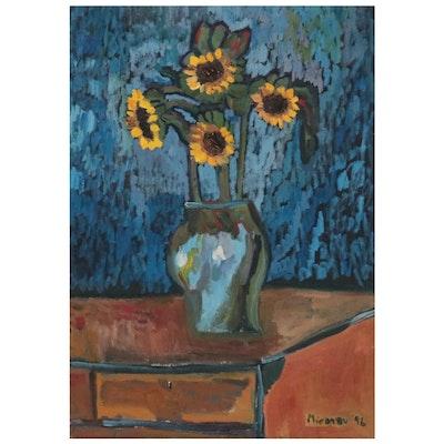 Jerald Mironov Still Life Oil Painting of Sunflowers, 1996