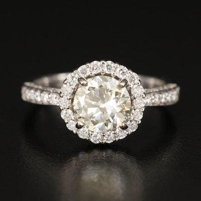 14K Diamond Halo Ring with 1.40 CT Diamond Center