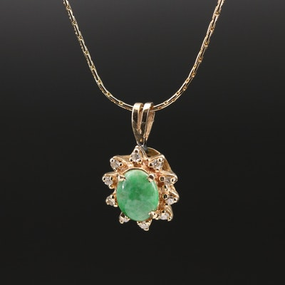 14K Jadeite and Diamond Pendant Necklace