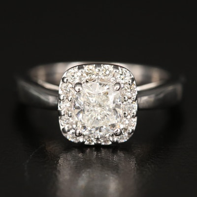18K Diamond Halo Ring with GIA Report