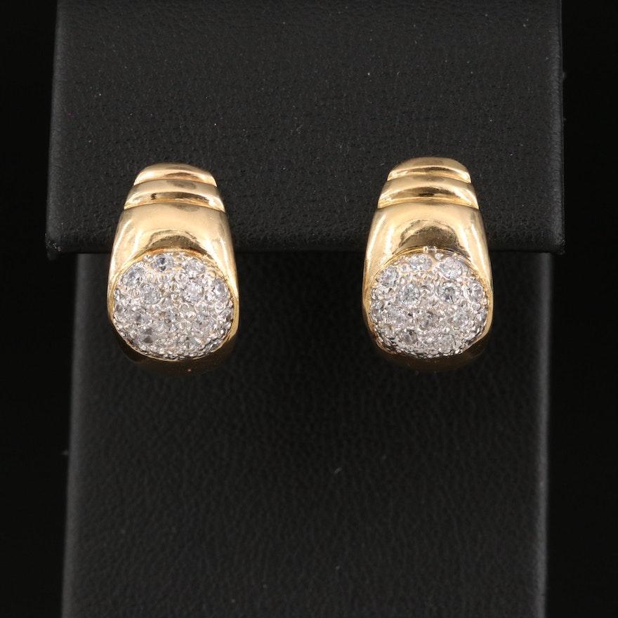 18K Cubic Zirconia J-Hoop Earrings