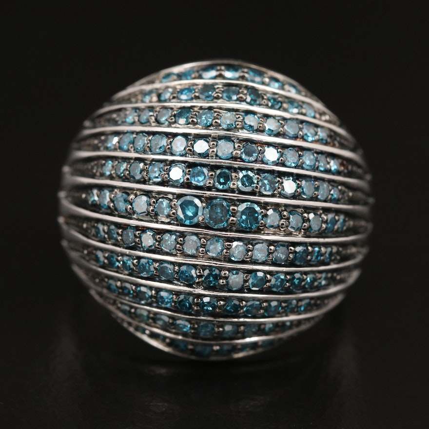Sterling Silver Diamond Dome Ring
