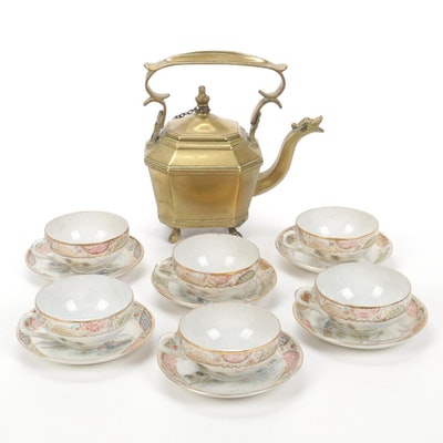 Chinese Brass Teapot with Japanese Porcelain Tea Cups and Saucers