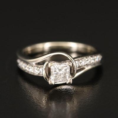 14K Diamond Swirl Ring
